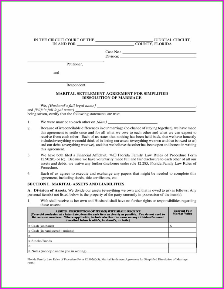 Marital Settlement Agreement Template Florida