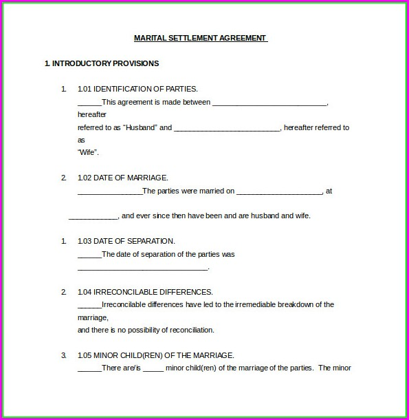 Marital Settlement Agreement Template