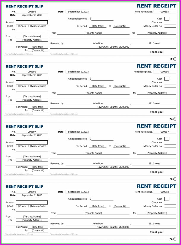 Monthly Rent Invoice Template Excel