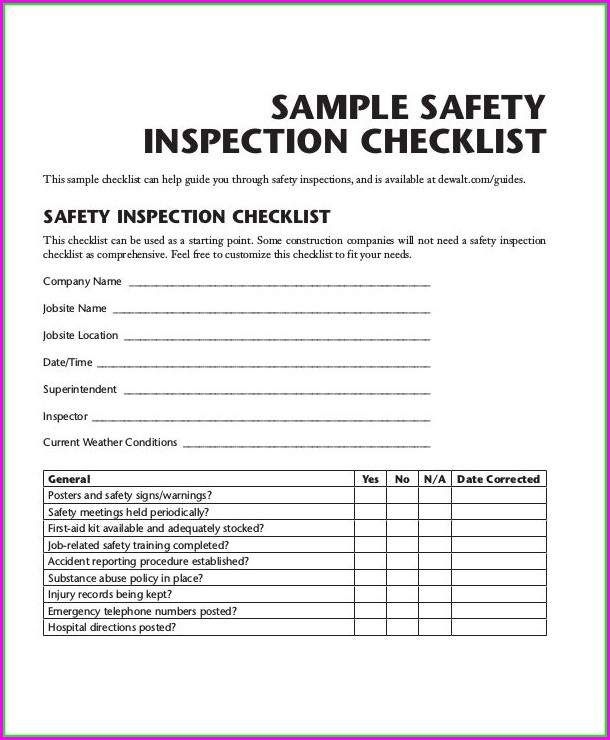New Vehicle Inspection Form Template