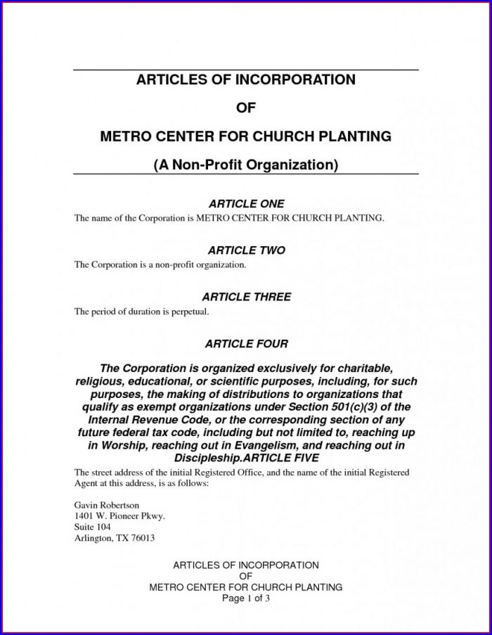 Nonprofit Articles Of Incorporation Template For Churches