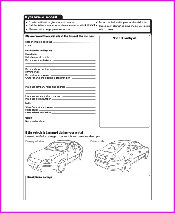 Pre Trip Vehicle Inspection Form Template