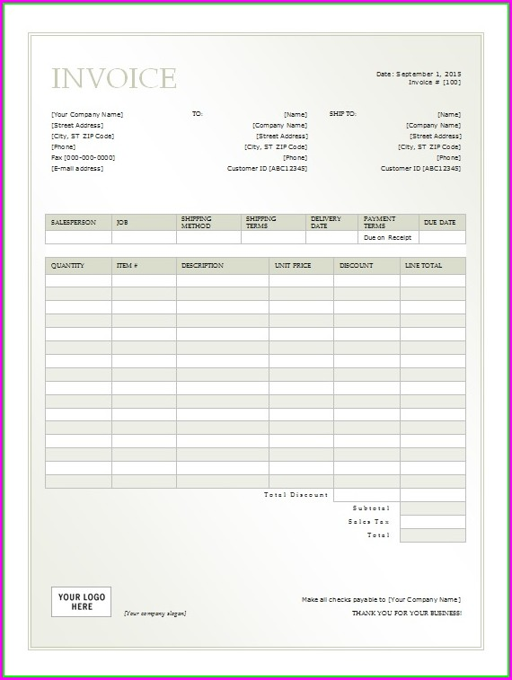 Property Rent Invoice Template