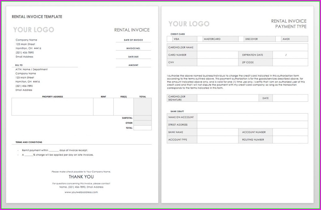 Rent Tax Invoice Template
