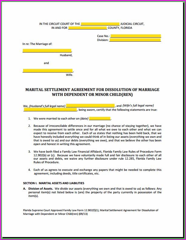 Template For Marital Settlement Agreement