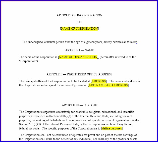 Template Of Articles Of Incorporation