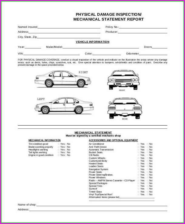 Vehicle Damage Inspection Form Template