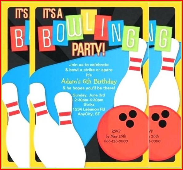 Bowling Birthday Invitation Template Free