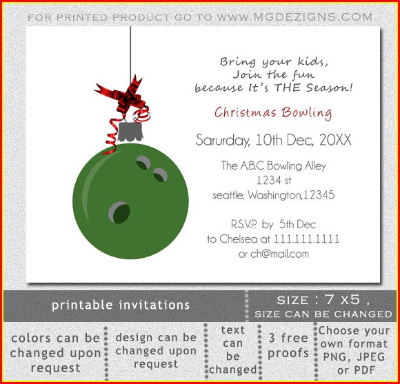 Christmas Bowling Invitation Template