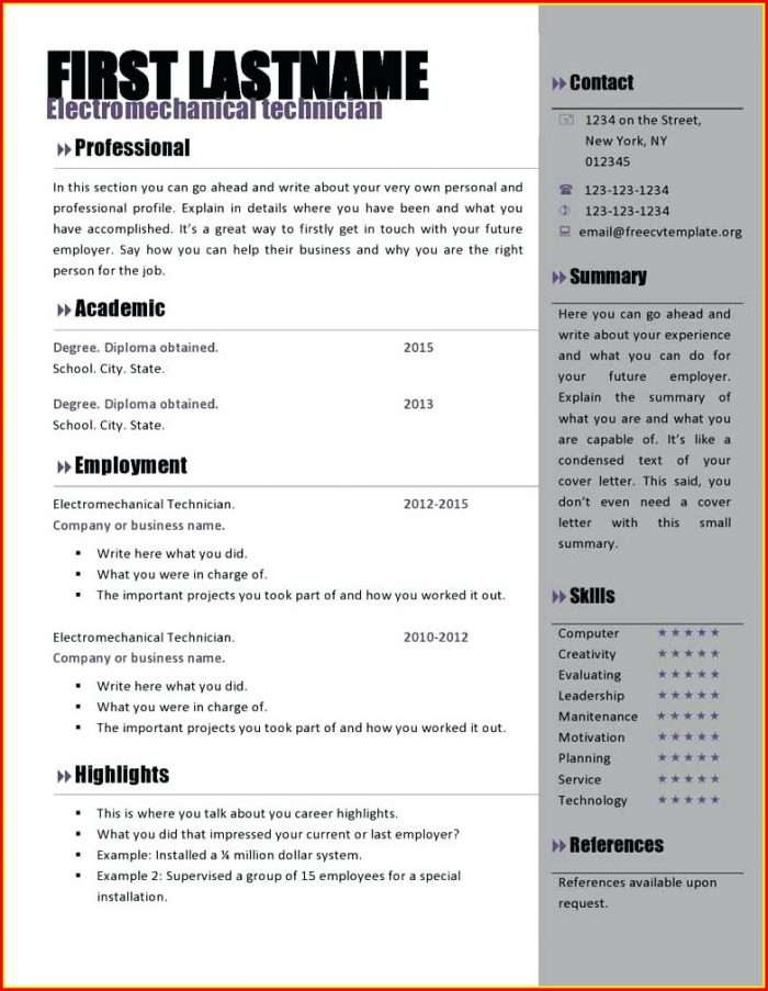 Eye Catching Resume Templates Microsoft Word Free Download
