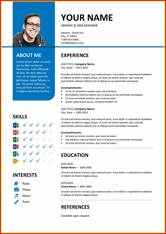 Free Colorful Resume Templates Microsoft Word