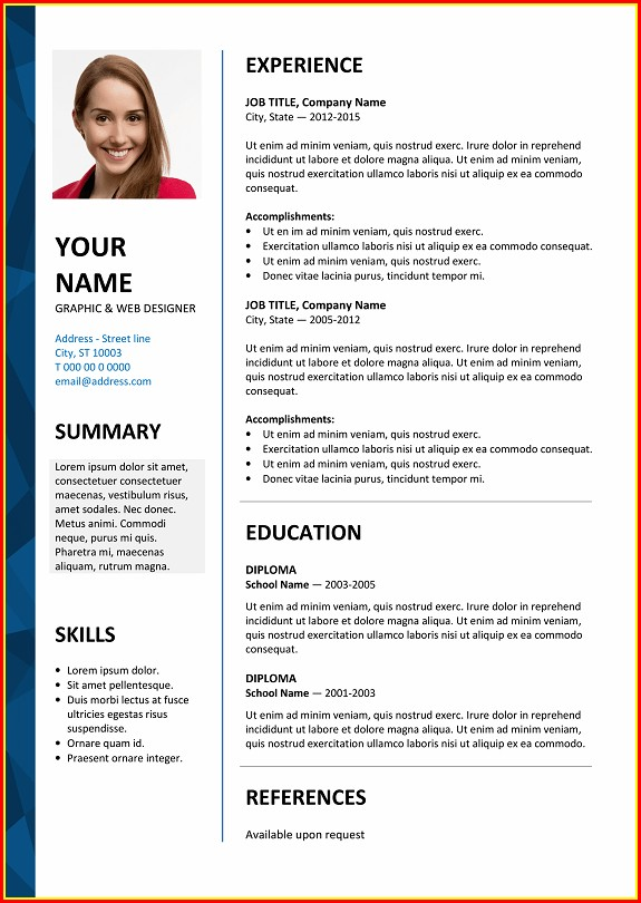 Free Resume Templates On Microsoft Word