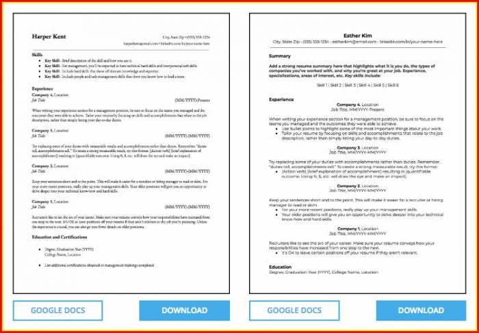 Free Resume Templates Without Microsoft Word