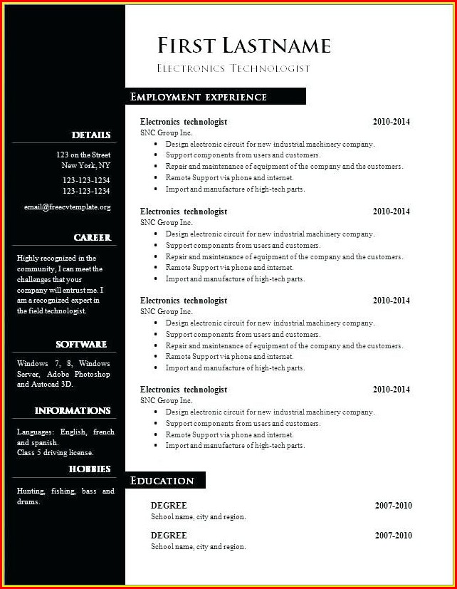 Microsoft Word Free Resume Templates 2018