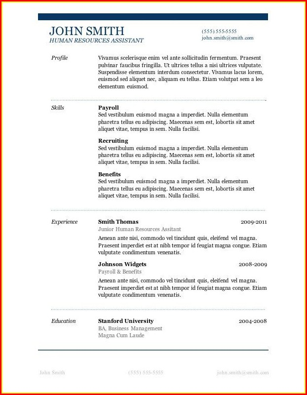 Microsoft Word Free Resume Templates Download - Template ...