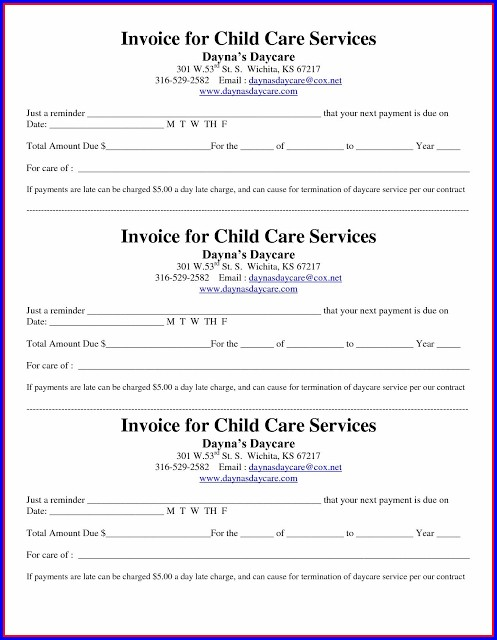Child Care Invoice Template Free