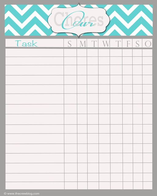 Customizable Chore Chart Template For Kids