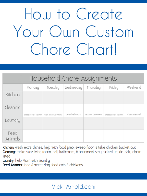 Customizable Monthly Chore Chart Template