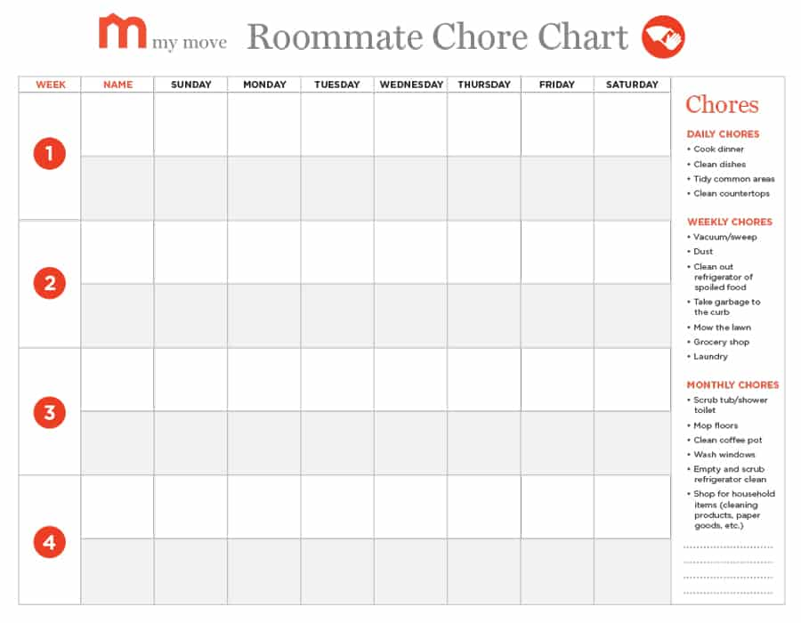 Customizable Weekly Chore Chart Template