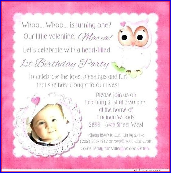 First Birthday Card Template For Baby Girl