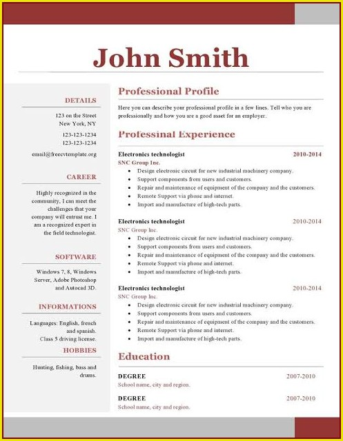 One Page Resume Template Word Free