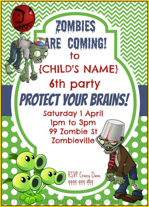 Plants Vs Zombies Party Invitation Template