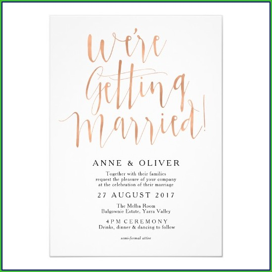 Rose Gold Wedding Invitation Template