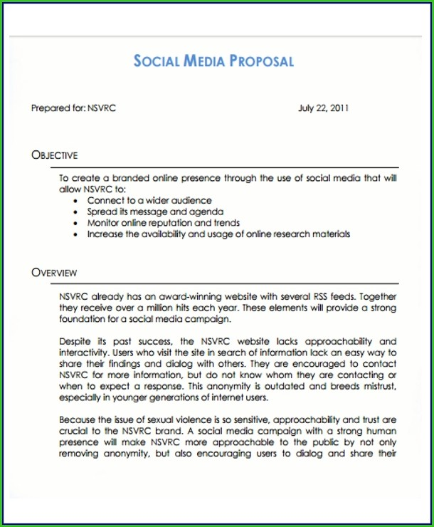 Social Media Proposal Template Free