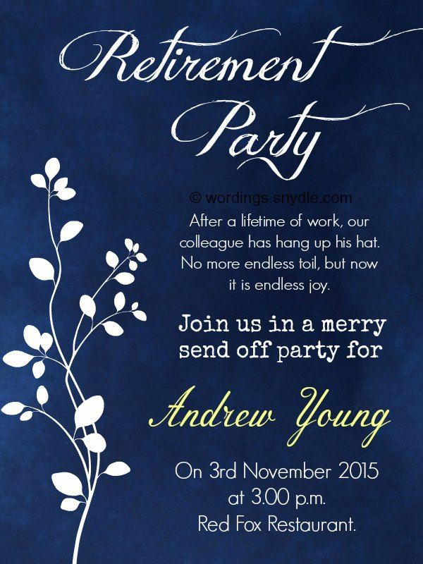 Template Retirement Party Invitation Wording