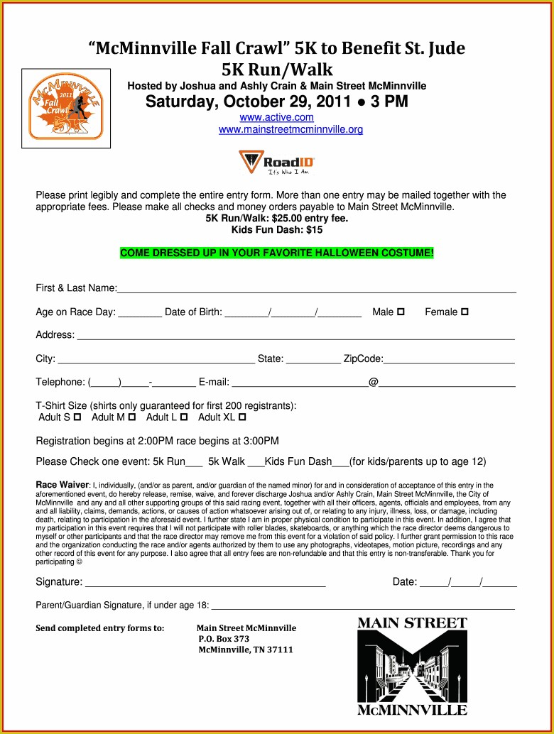 5k Registration Form Template