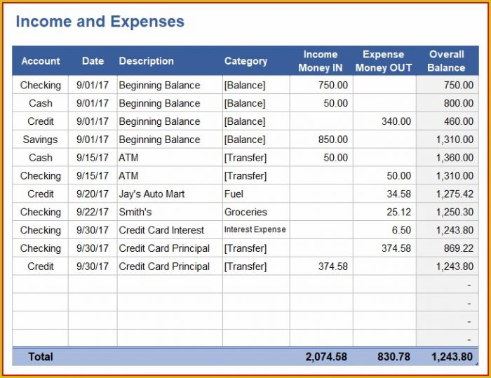 Daily Expense Tracker Template Excel