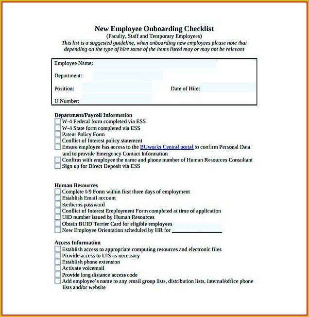 Employee Onboarding Form Template