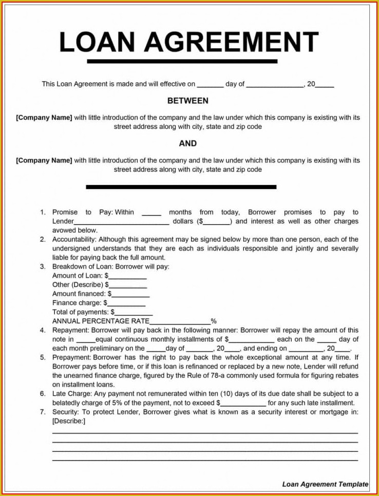 Free Loan Agreement Template Word South Africa