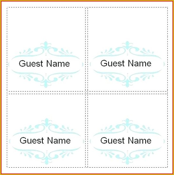 Seating Name Cards Template Word