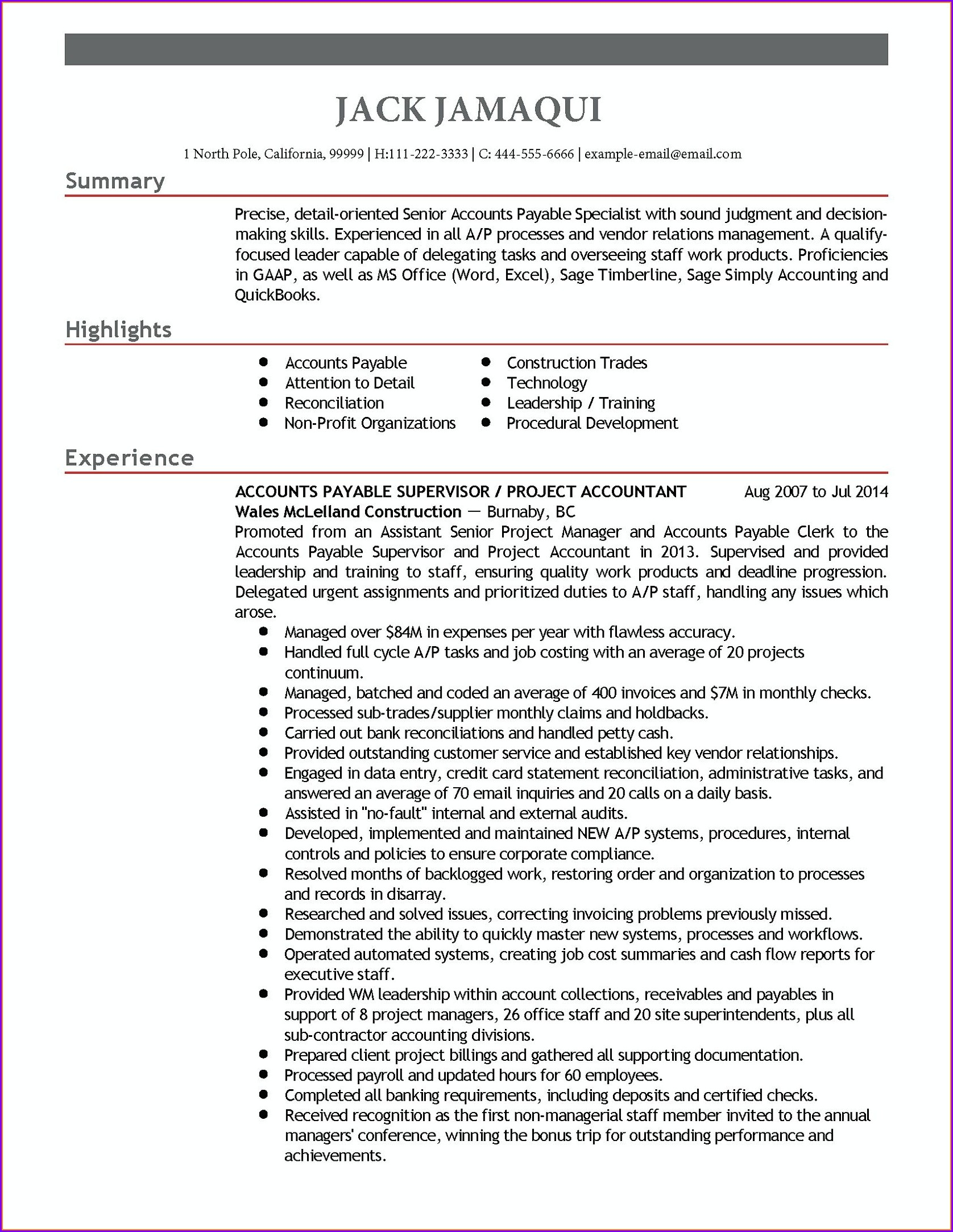 Accounts Payable Resume Sample India