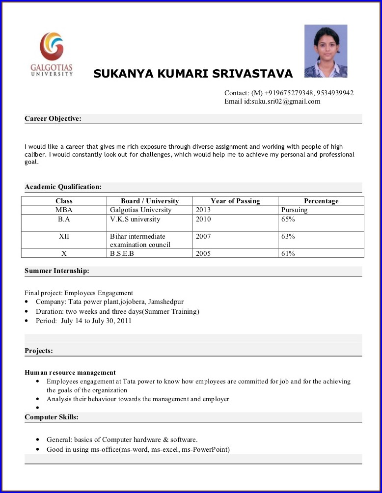 Attractive Resume Format For Mba Freshers