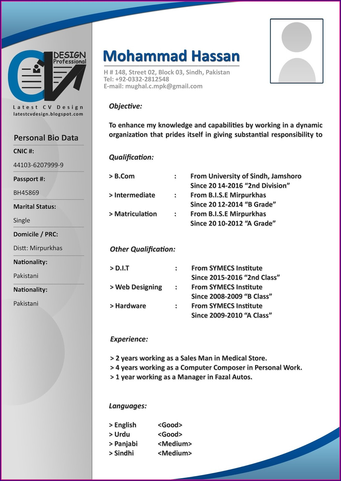 Basic Resume Format Download In Ms Word