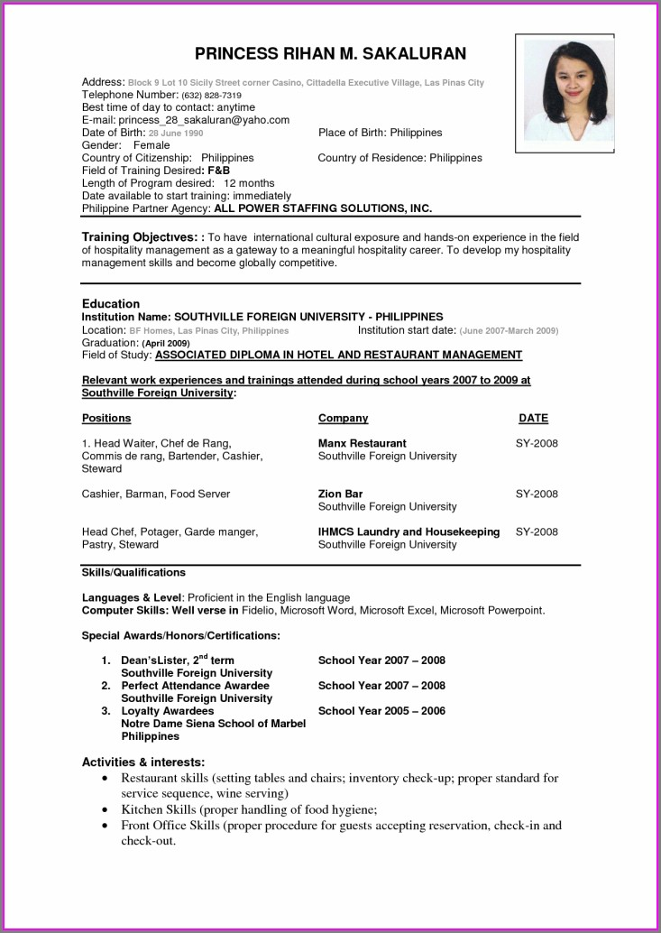 Beginner Resume Format For Freshers Pdf Free Download