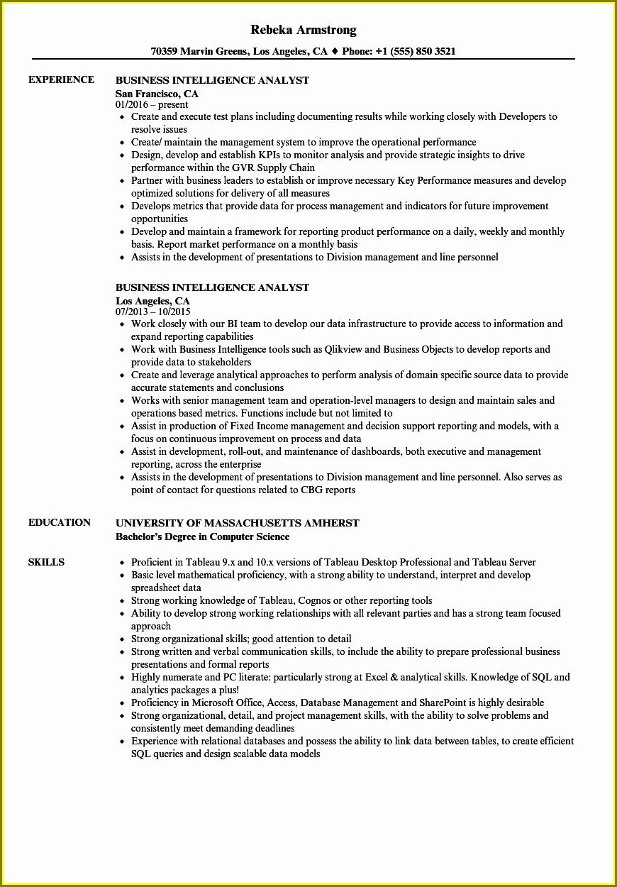 Best Business Intelligence Analyst Resume Sample