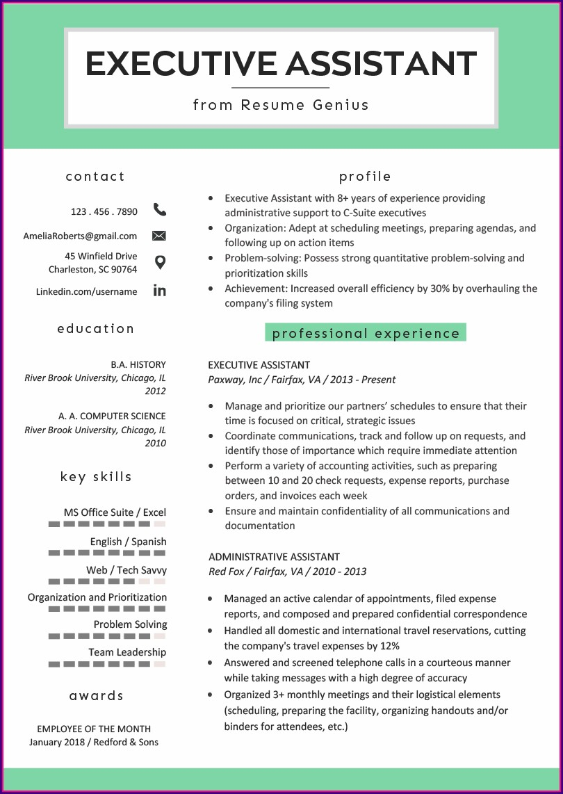 Best Executive Assistant Resume Examples