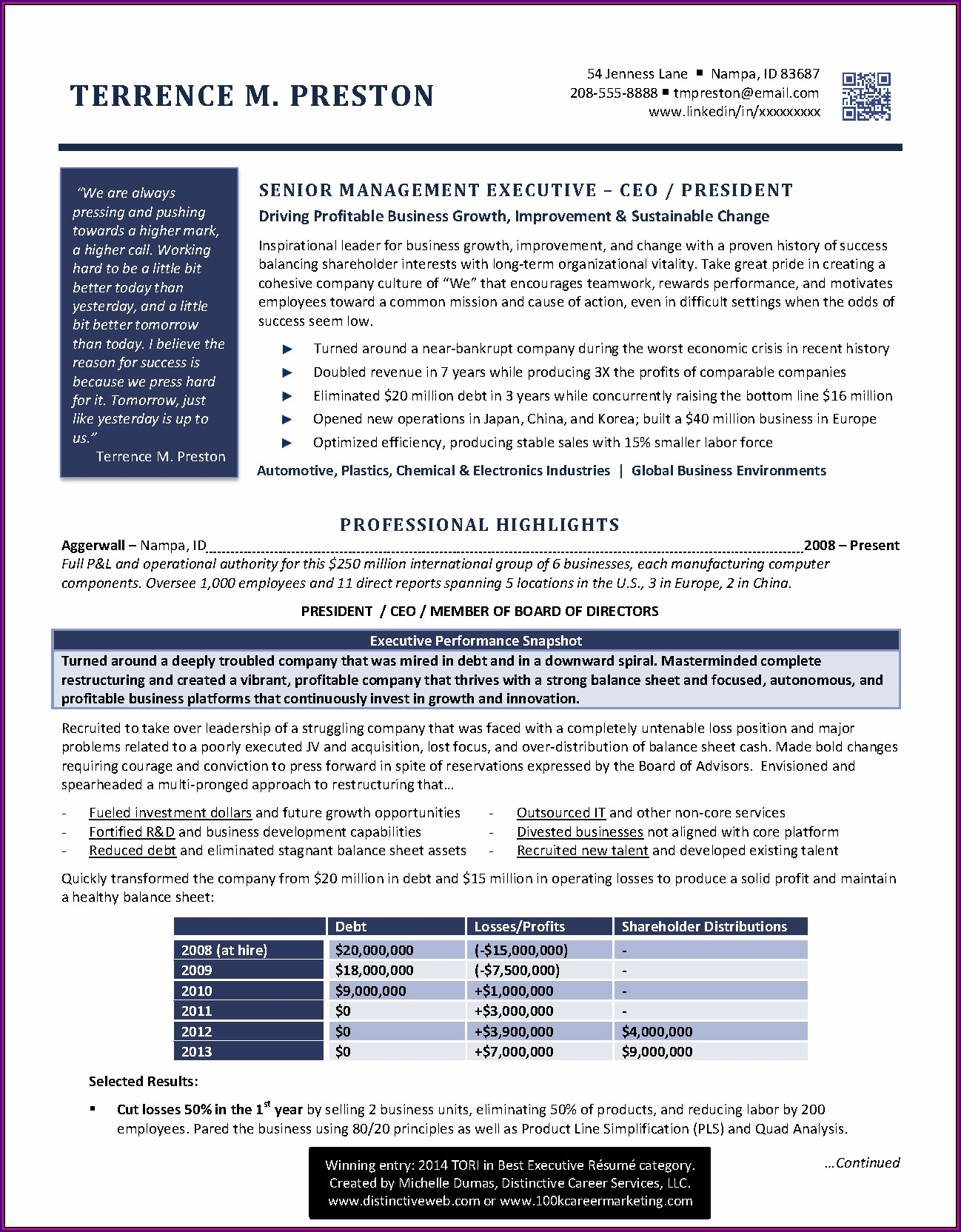 Best Executive Resume Examples