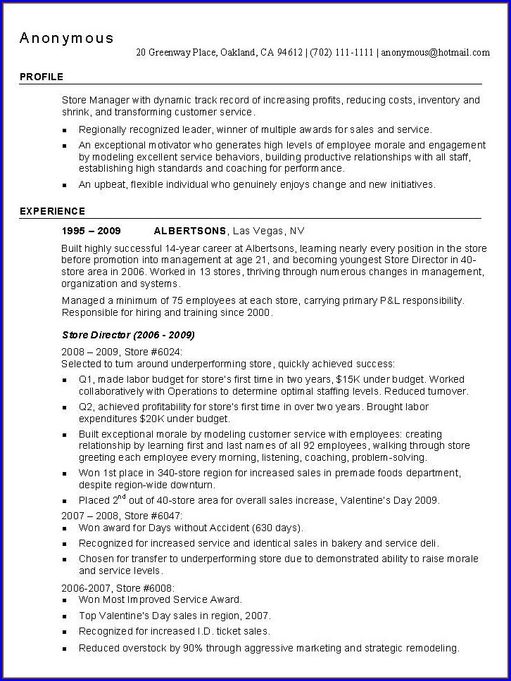 Best Resume Format For Retail Jobs