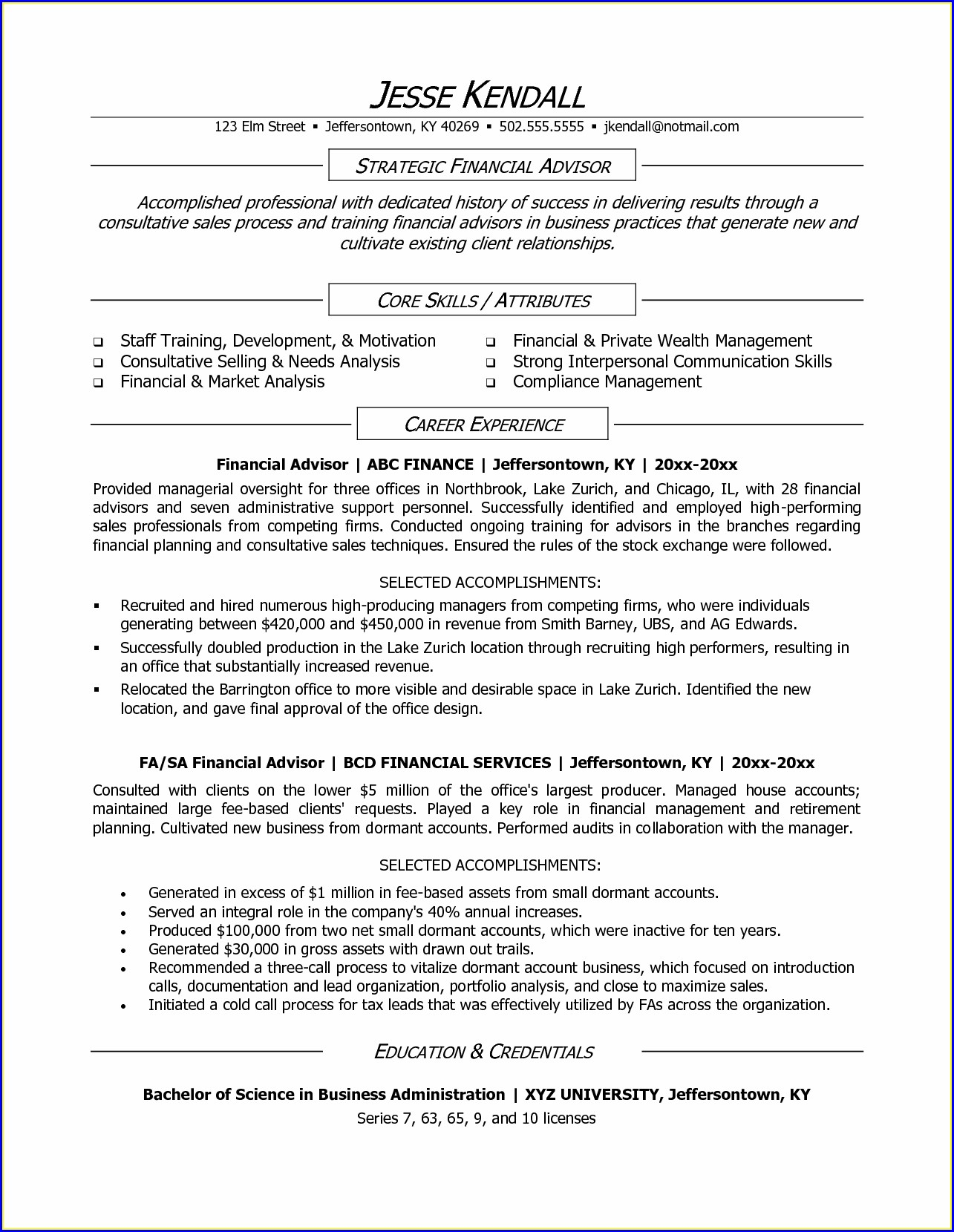 Certified Financial Planner Resume Sample