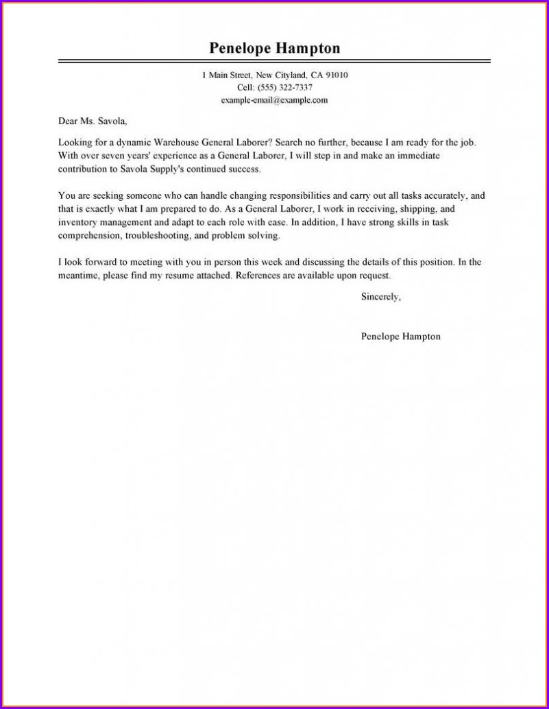 Cover Letter Sample For Resumes