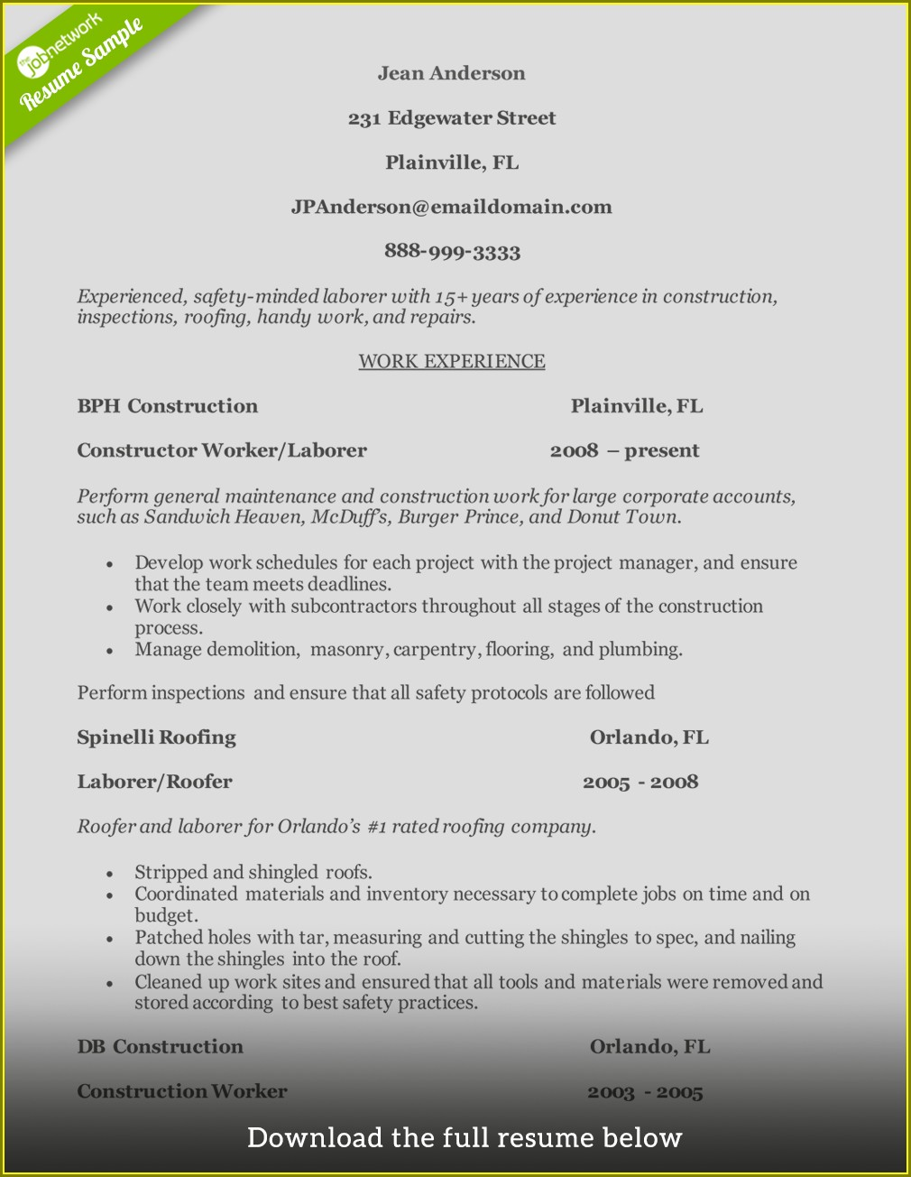 Cv Samples For Construction Workers