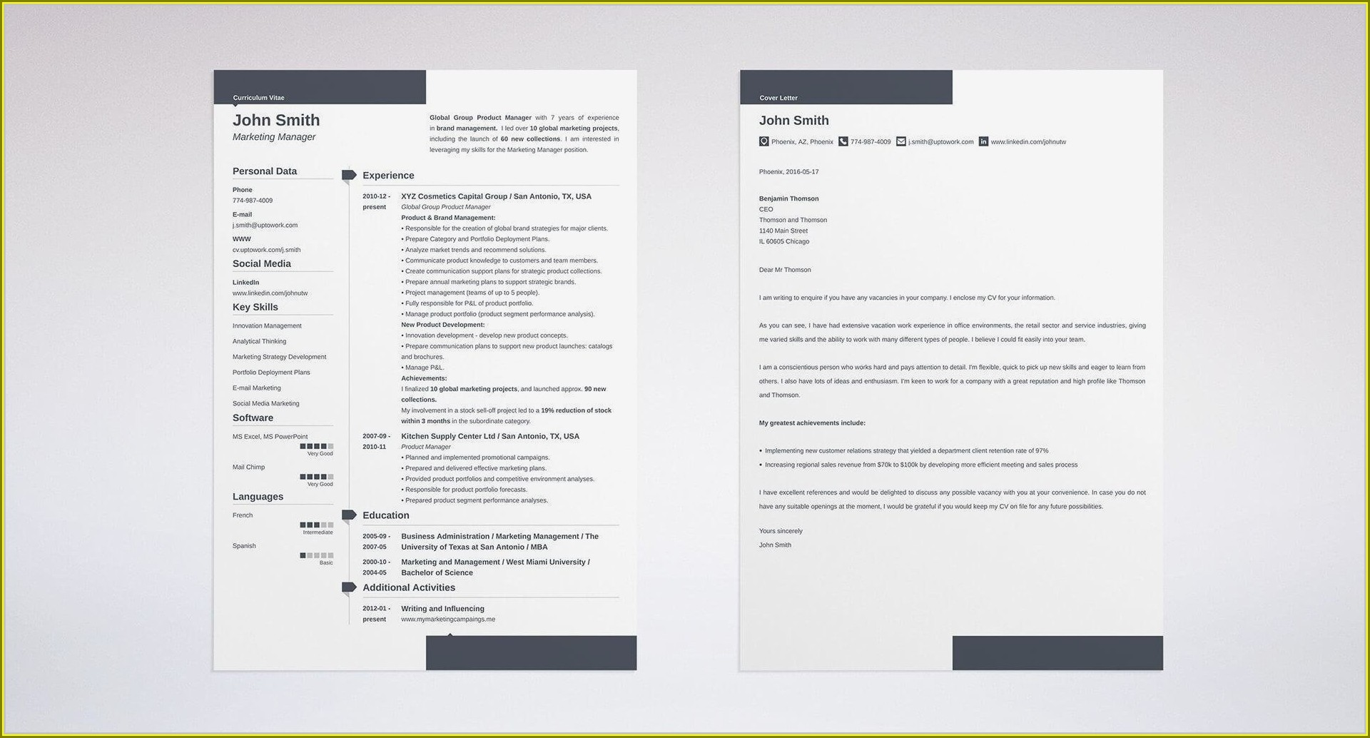 Cv Template For Chef Position