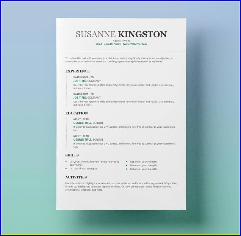 Cv Templates For Word Free Download