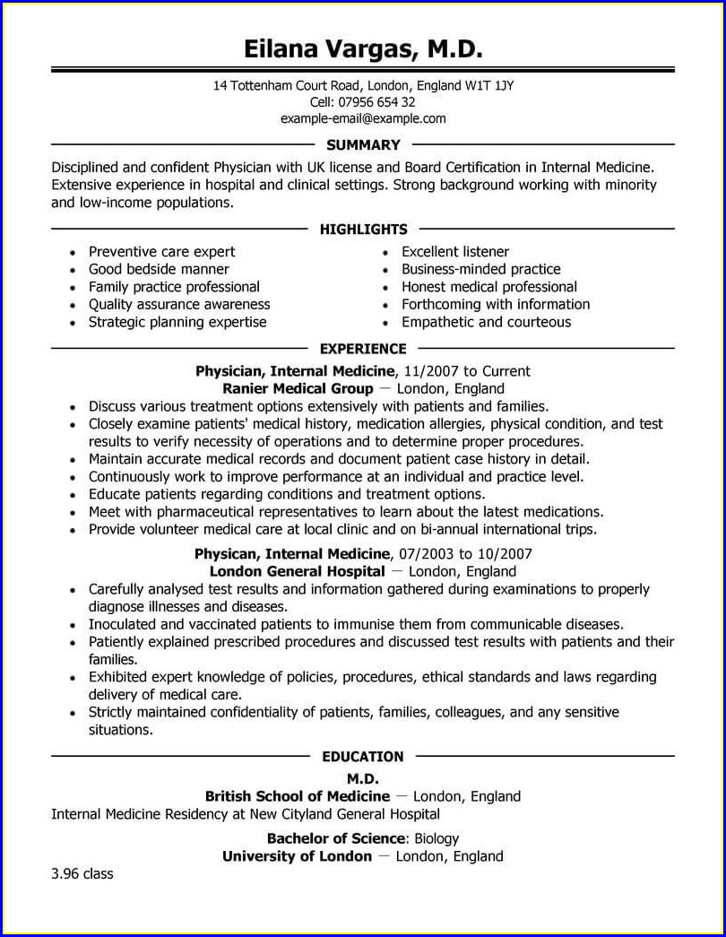 Doctor Resume Format Free Download