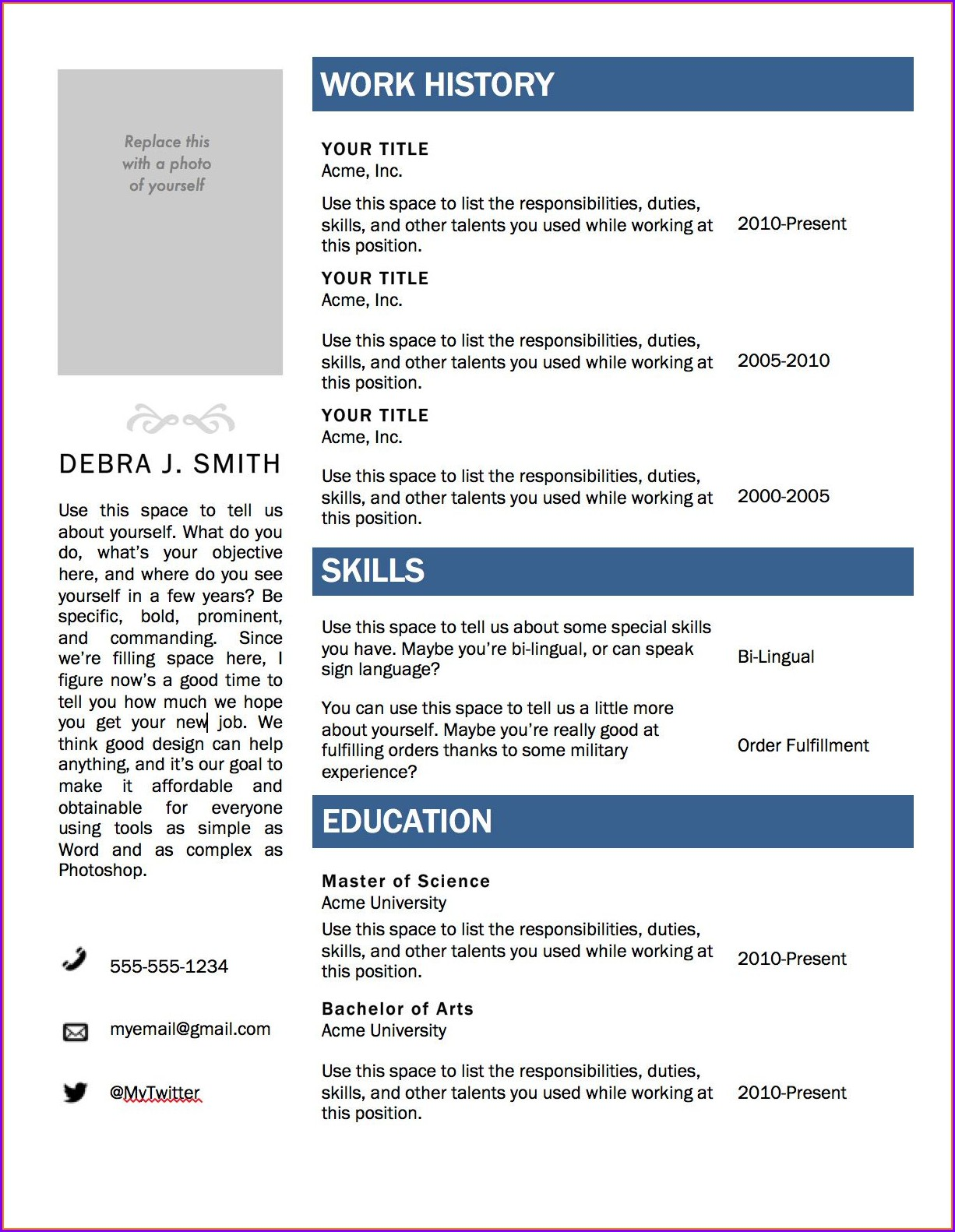 Downloadable Microsoft Word Free Resume Templates 2019