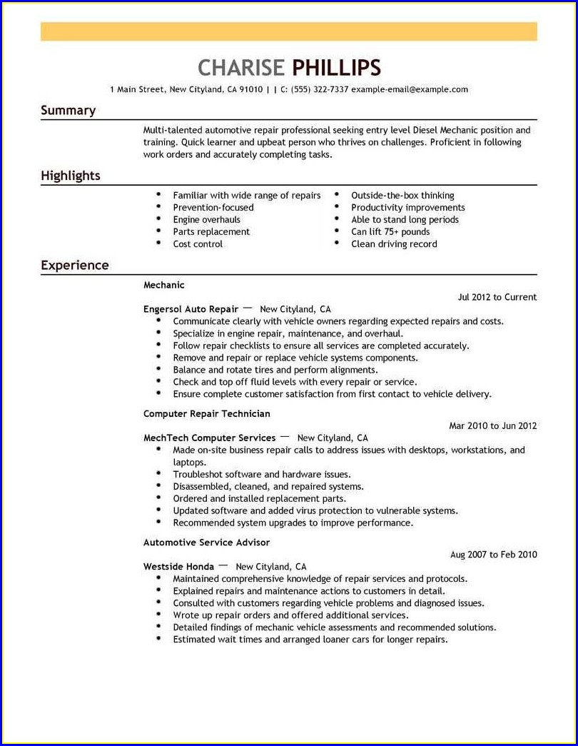 Entry Level Resume Samples Free Download
